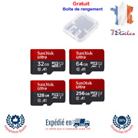 Carte Mémoire Micro SD C10 U1 A1 SDHC et SDXC 16 32 64 128 256 Go SanDisk Ultra