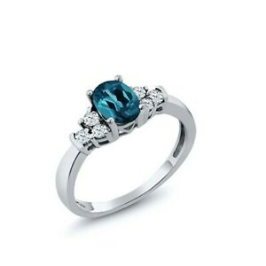 925Sterling Silver London Blue Topaz Gemstone Women Wedding Engagement Love Ring