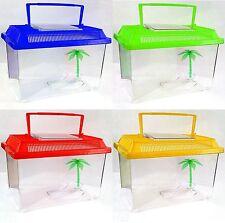 Fish Water Tank Plastic Aquarium Colour Insect Reptile Worm Cage Handle MEDIUM