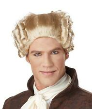 Blonde 18th Century Colonial Peruke Curly Wig with Ponytail