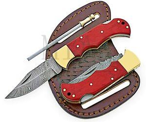 Handmade Damascus Folding Pocket Hunting knife with sharpener ,Leather Sheath