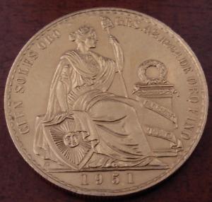 Peru 1951 Gold 100 Soles NGC AU Seated Liberty