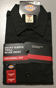 Dickies Short Sleeve Twill Work Shirt. Medium, Black. Original Fit.
