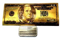 1 TROY OUNCE .999 FINE SILVER AMERICAN FLAG BAR BU + 1 99.9% 24K GOLD $100 BILL
