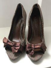 Las SEÑORAS UK Size 5.5 Marrón Tartan Check Stiletto Peep-toes con arcos de la cinta marrón
