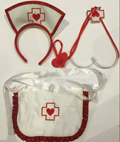 3pc Adult Womens Sexy Nurse Costume Headband Apron Stethoscope Fancy Party Dress
