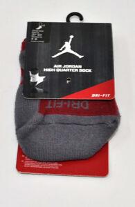 NIKE Air Jordan High Quarter Socks Grey/Red Women's 4-6 Youth 3Y-5Y