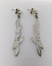 Sterling Silver Abstract Leaf Design Creamy White Mother Of Pearl Earrings