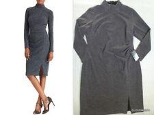 NWT RALPH LAUREN Size 14W Mock Neck Side pleats Heather Gray knit Sheath Dress