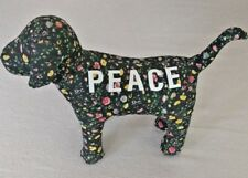"victoria's secret pink dog plush floral print collectable peace 6"" by 9"""
