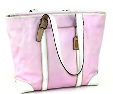 9ebea0acb6 Authentic COACH Pink Canvas   White Leather Tote Shoulder Bag Hand Bag Purse