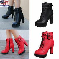 Women Punk Rivet Chunky Heel Ankle Boots Casual Platform Buckle Zipper Shoes US