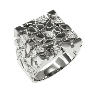 Sterling Silver Square Nugget Men's Ring