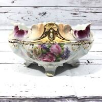 Antique Vintage IPF Germany White Gold Trim & Pink Flowers Footed Bowl