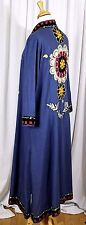 SAHRA OZEL TASARIM TEAL BLUE EMBROIDERED OPEN FRONT TURKISH DRESS KAFTAN ROBE L