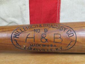 "Vintage 1950s Hillerich & Bradsby Wood Baseball Bat Leader HOF Joe DiMaggio 32"""