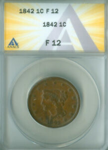 1842 Large Cent ANACS F-12 FREE S/H (2127177)