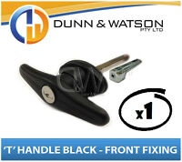 Black Front Fixing 'T' Locks, Handle (Trailer Caravan Canopy Canopie Toolbox) x1