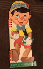 1961 Walt Disney's Pinocchio Golden Tall Toy Wipe Off Color Crayon Shape Book