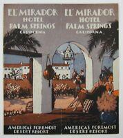 Vintage El Mirador Hotel Palm Springs Travel Brochure Layout Photos Map c 1930's