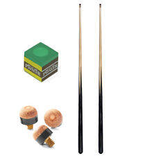 """2 x 42"""" Cue - 11mm Screw Tip - 1 Piece + Chalk and tips"""
