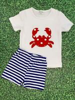 Boys, Toddler Polka Dot Crab Blue Stripe Shorts Outfit Set 2T 3T 4T 5 6 7 8