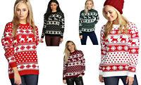 New Unisex Ladies Men Christmas Jumper Reindeer Snowflakes Knitted Xmas Long Top