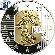Francia 5 euro 2002 bi metal sembradora plata & Gold Merci le Franc