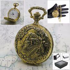 Gold Antique Mens Quartz Pocket Watch TRAIN design with Fob Chain Gift Box P163