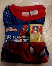 New Boys Ultimate Spiderman 2 pc Flannel Pajamas Sleepwear Set Size 8 Red pants