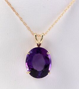 10.20 Carat Natural Purple Amethyst in 14K Solid Yellow Gold Pendant