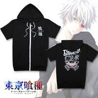 Tokyo Ghoul Kaneki Ken Hoodie Short Sleeve Zip-Up Sweatshirt Hooded Jacket Coat