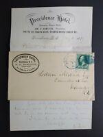 Rhode Island: Providence 1877 Providence Hotel Advertising Cover + Letter