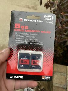 STEALTH CAM 8 GB SDHC MEMORY CARDS 2 PACK HIGH SPEED DATA TRANSFER BRAND NEW