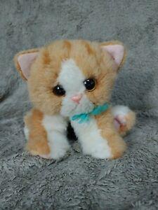 "DSI Purring Kitty Kitty Kittens White Orange Stuffed Plush 2000 7"" Teal Bow"