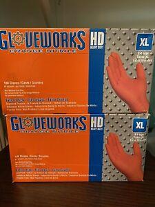 2 Boxes Of 8mil Gloveworks HD Orange Nitrile Gloves AMMEX 100 Total XLarge