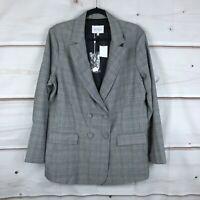 Estelle Plus Size Glen Plaid Double-Breasted Womens 1X Multicolor Blazer Jacket