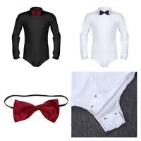 Herren Langarm Strampler Shirt Hemd Slim fit Overall mit Fliege Tanz Kleidung