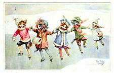 POSTCARD THIELE CATS ICE SKATING IN A LINE T.S.N. SERIES 1876 (SB)
