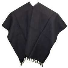 EXTRA WIDE Mexican PONCHO - SOLID BLACK - ONE SIZE FITS ALL BIG AND TALL Western