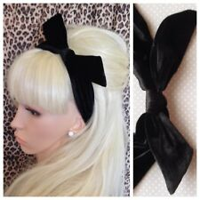 Plain Black Velvet Velour Fabric Bow Knot Stretch Hair Band Head Wrap 50s Retro