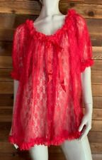 New listing Vintage Gnc Red Lace Size Medium Babydoll Nightgown #12540