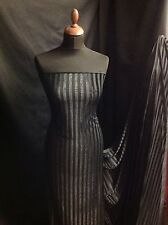 "Black Stretch Stripe Velvet Valour Burnout fabric 61"" 157cm Devore Cloth Dress"
