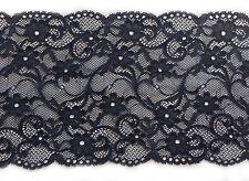 "Beautiful Navy Wide Soft Stretch Lace Trim 6.5""/17cm Lingerie Costume Lace - 1M"
