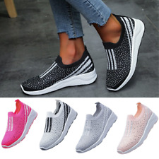 UK Womens Ladies Flat Slip On Knit Sneakers Ligthweight Walking Sport Shoes Size
