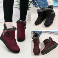 Women Warm Snow Shoes Cotton Lining Winter Ankle Boots Soft Sole Booties Buckled
