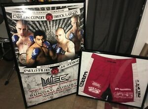 Carlos Condit WEC 29 Title Defense Trunks SBC Poster Signed Auto Fight Used Worn