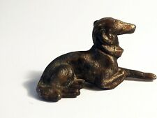 Antique metal dog Russian Wolfhound Borzoi Sighthound gold bronze color