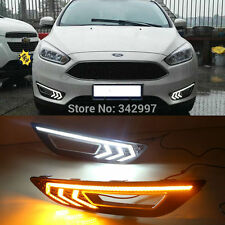 2x LED Daytime Running Lights DRL Fog Lamp w/ Turn Signal For 2015-up Ford Focus