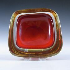 Murano/Sommerso Red & Amber Cased Glass Geode Bowl #2